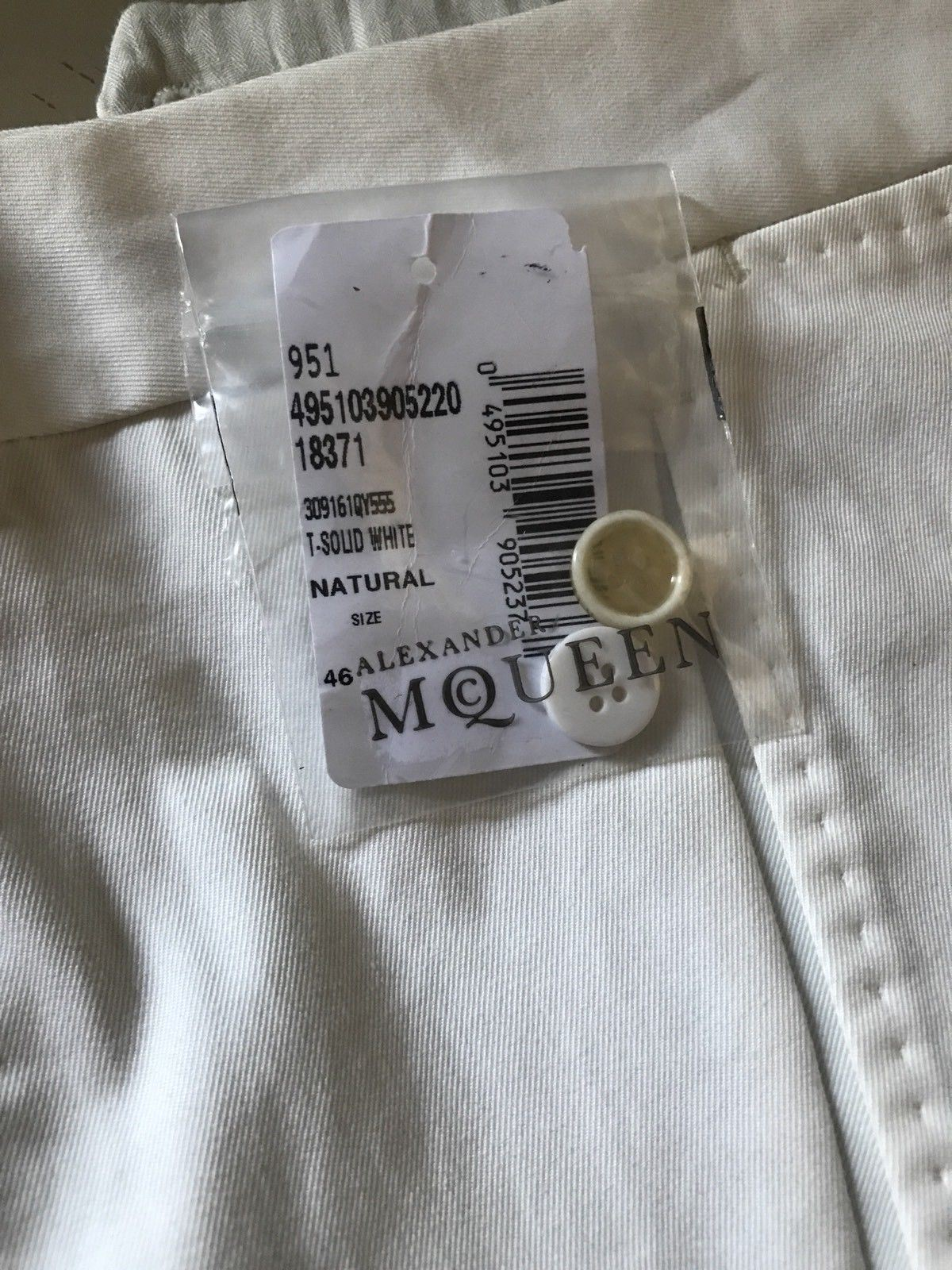 NWT $920 Alexander McQueen Mens Pants White 30 US ( 46 Eu ) Italy - BAYSUPERSTORE