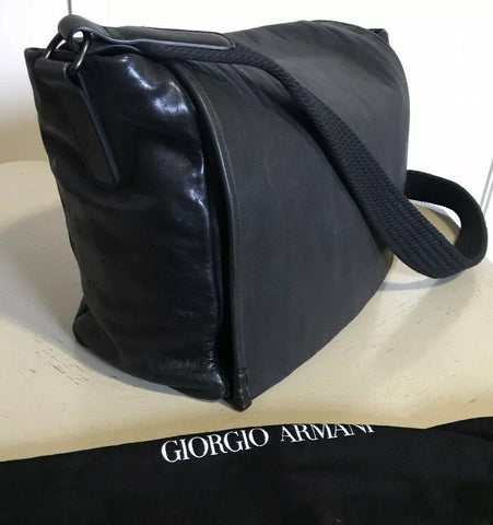 New $2595 Giorgio Armani Mens Leather Messenger Travel Sholder Bag Black Italy