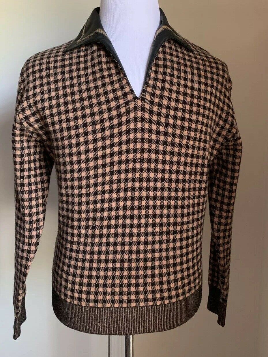 NWT $2700 Bottega Veneta Mens Cashmere/Leather Sweater Brown/Bla.M US ( 48 Eu )