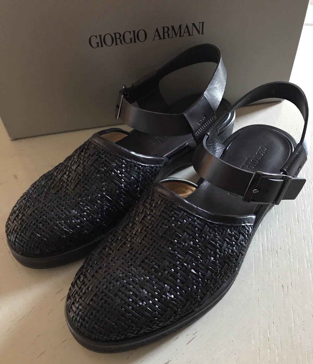 New $1123  Giorgio Armani Mens Leather Sandal Shoes Dark Brown 6 US X2P054 Italy - BAYSUPERSTORE