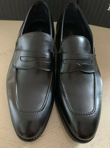New $1295 Ermenegildo Zegna Couture Leather Loafers Shoes Black 12 US Italy
