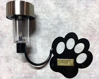 Dog Memorial With Solar Light: Metal Art Paw + Custom Engraved Plaque