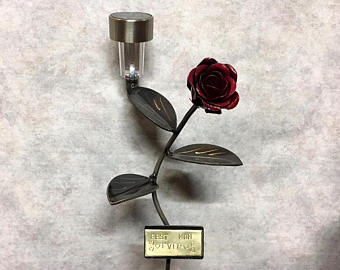 Rose Flower With Solar Light And Custom Engraved Plaque: Metal Art Valentines Award