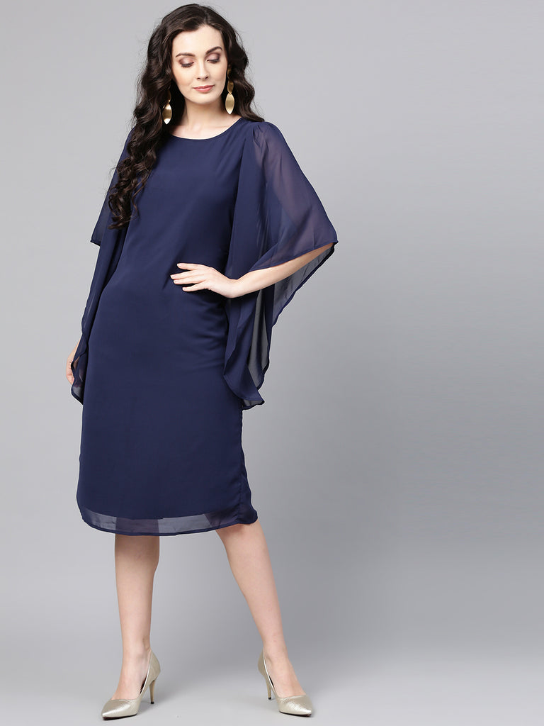 Navy flared assymetric sleeve midi