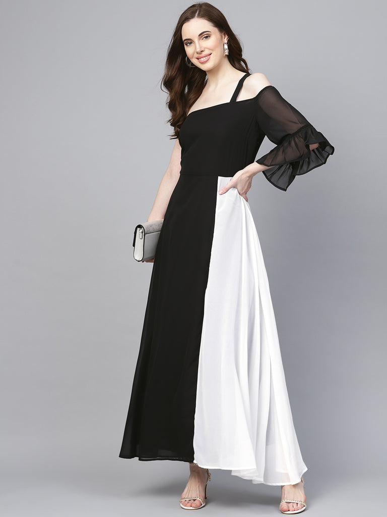 Black Color Block One shoulder Maxi