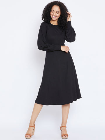 Black Midi Dress with Twisted back