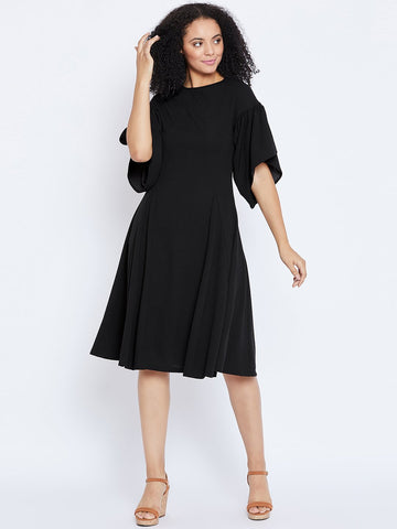 Black gathered sleeve midi dress