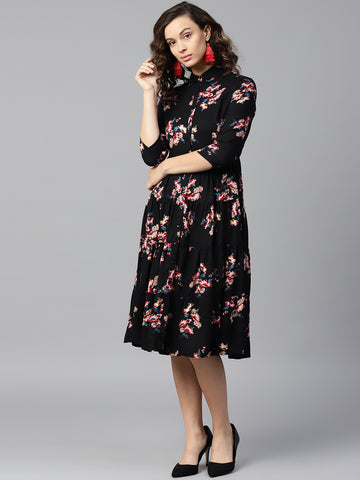 Black floral tier shirt dress