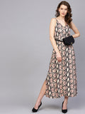 Beige Snakeprint Strappy Maxi Dress