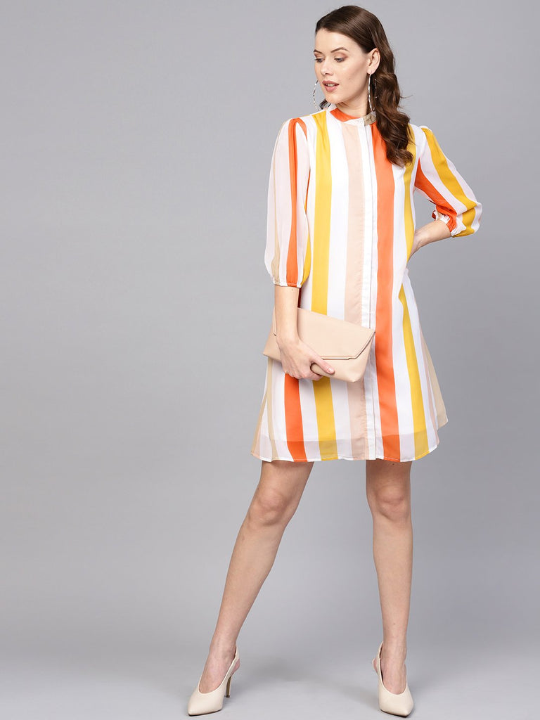 Sunset Stripe Button Down Mini Dress