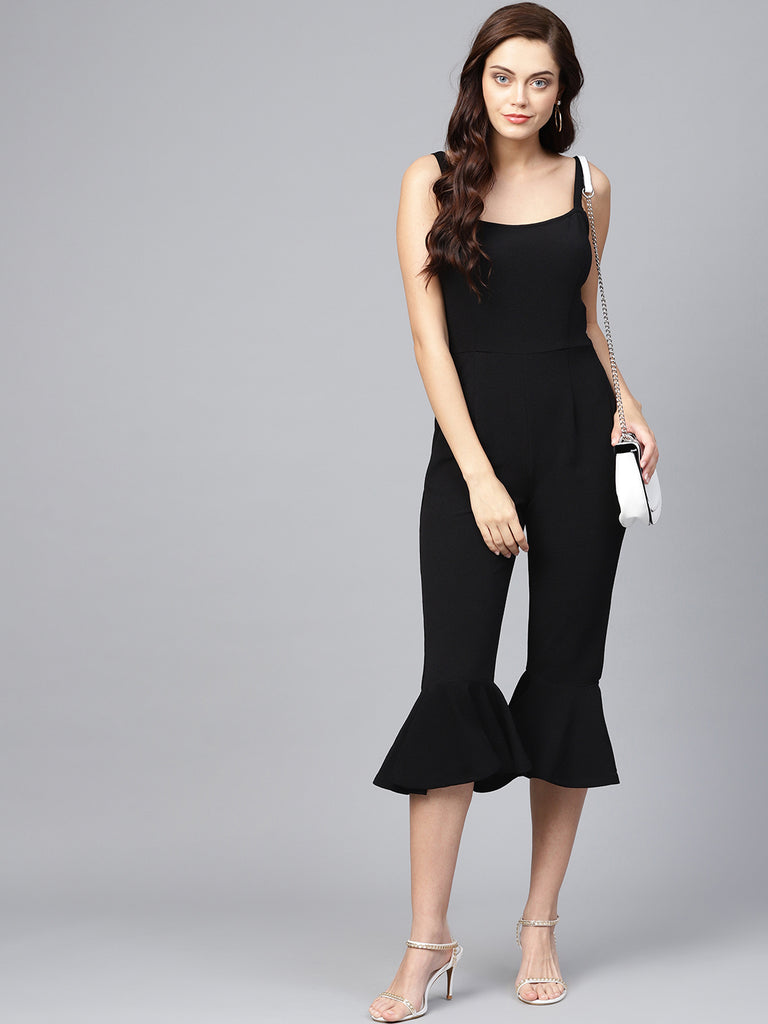 Black flared hem strappy jumpsuit