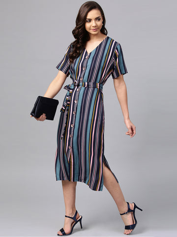Multi Color Stripe Shirt Dress