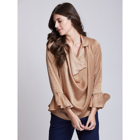 Beige Cowl Neck Top