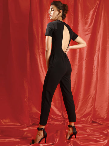 Black Back Cut Out Detail Jumpsuit