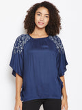 Navy embroidered batwing top