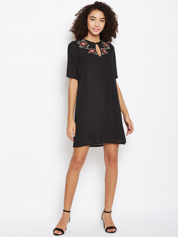 Black emberoidered shift dress