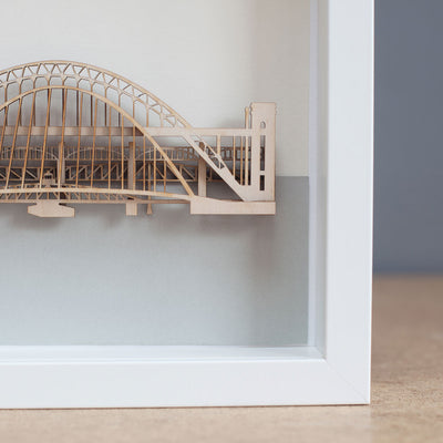Laser cut 5 Tyne bridges in box frame