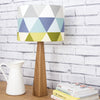 Handmade table lamp and shade with geometric pattern