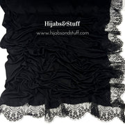 Jersey Lace 2 Edges - Night Black #04 - Hijabsandstuff
