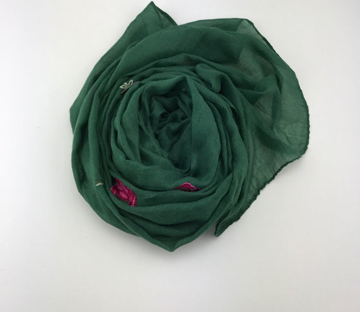 Floral hijab - forest green #11