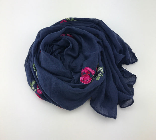 Floral hijab - night blue