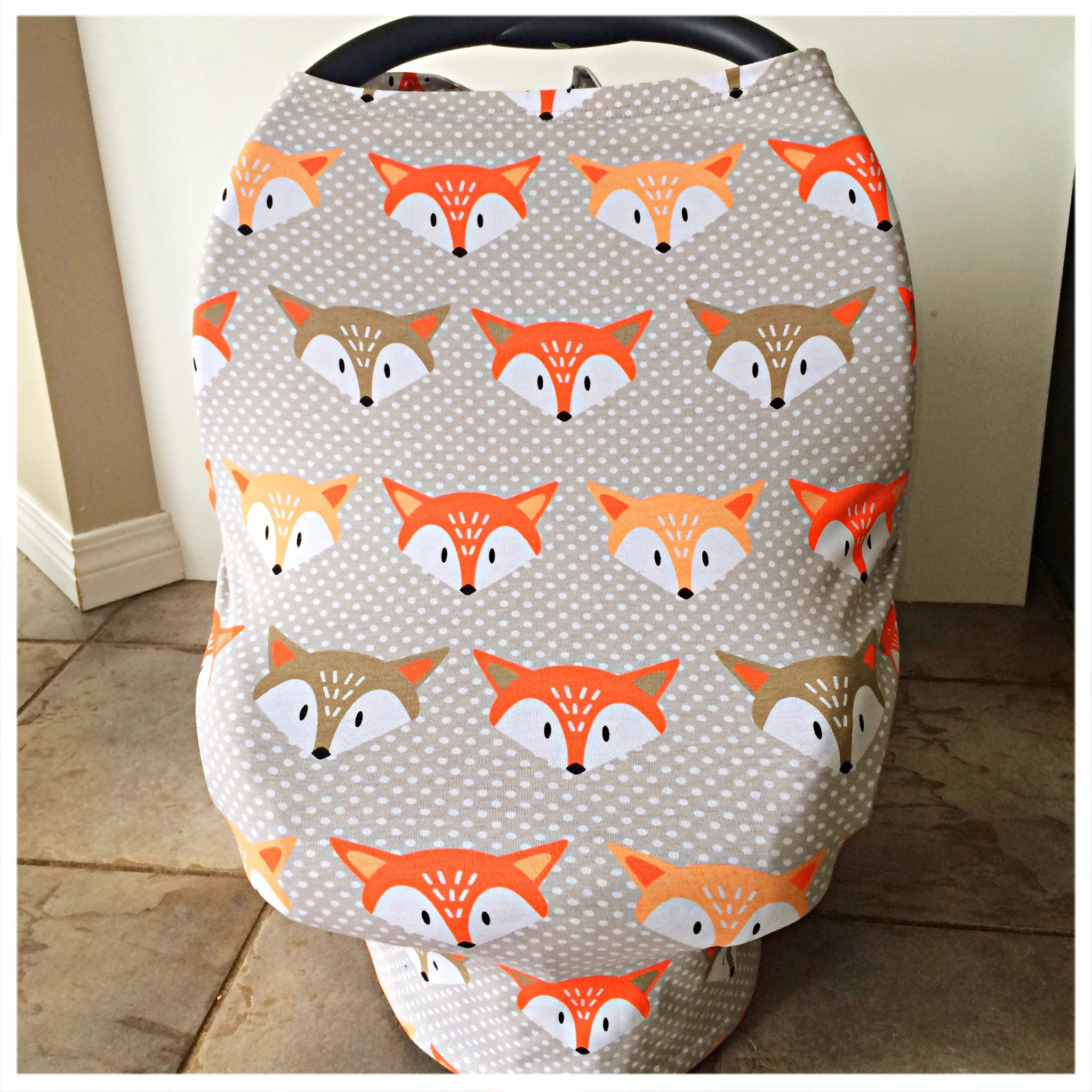 stretchy multi use baby car seat cover, nursing cover, blanket, cart cover. Canadian business.