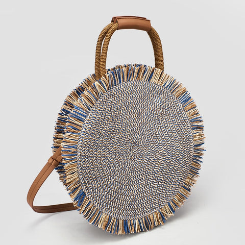 Lila's Beauty BagHigh Quality Round Straw Fringed Bagbag${product_tags}