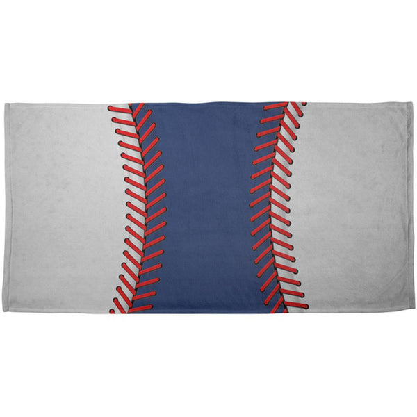 Baseball League Blue and White All Over Beach Towel