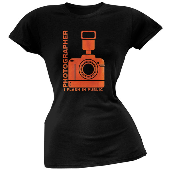 Photographer Flash in Public Funny Black Juniors Soft T-Shirt