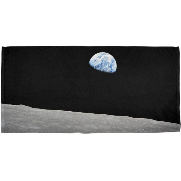 Earth Rising Over the Moon All Over Bath Towel