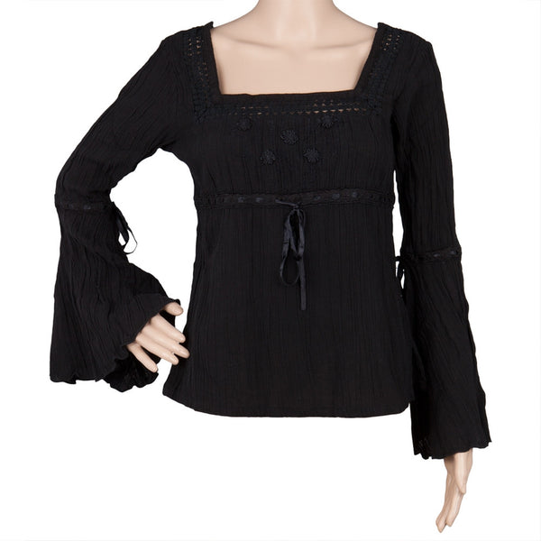 Embroidered - Black Gauze Blouse