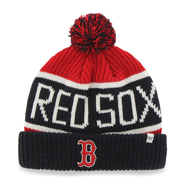 Boston Red Sox - Logo Calgary Navy and Red Pom Pom Beanie