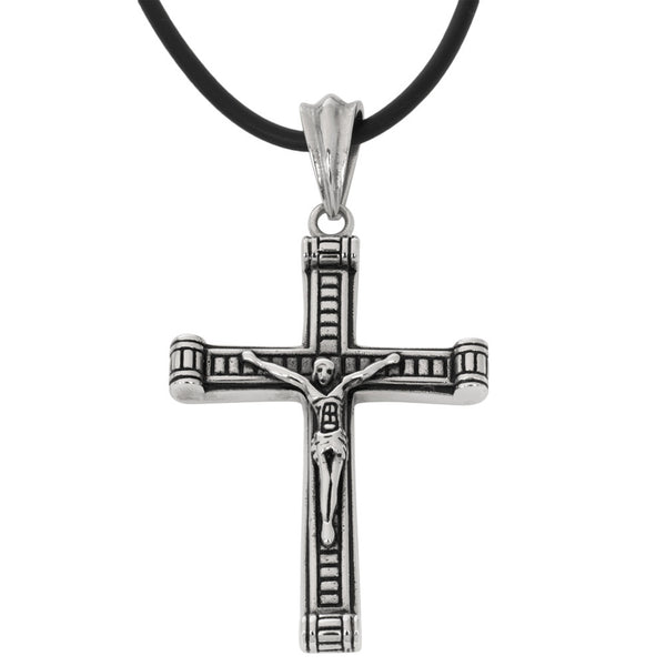 Ancient Crucifix Stainless Steel Pendant Cord Necklace
