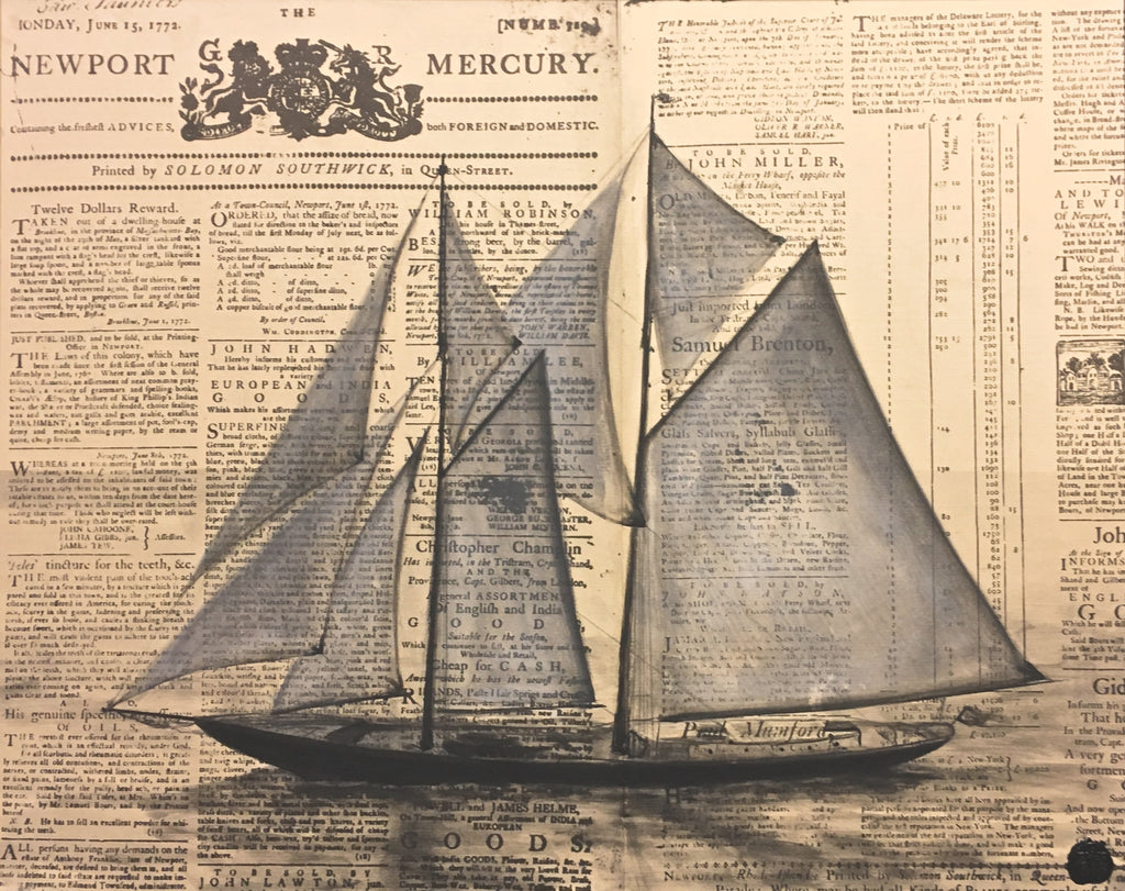 Nautical Painting on Vintage Newsprint; Sailboat; Naval Art