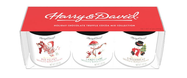 Gift Set Round Canisters Cocoa - Harry & David® Snowman Art - 3-3 oz round canisters