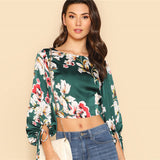 Sleeve Tied Open Back Crop Floral Top