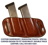 "TOM'S ""SIDEARM DOUBLE MAG CARRIER"" DOUBLE SEMI-AUTO ANGLED SLIDE THROUGH BELT DOUBLE THICK REINFORCED LEATHER MAG POUCHES"