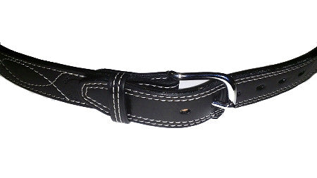 "TOM'S ""EXOTIC STITCHED GUN BELT"" FOR DRESS OR CASUAL. (TOM'S FAVORITE) DOUBLE THICK REINFORCED W/ FLEXIBLE POLYMER WITHIN LEATHER GUN BELT"