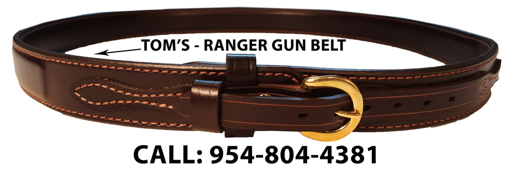 "TOM'S ""RANGER GUN BELT"" 2 STRAPS INSERT INTO BUCKLE. DOUBLE THICK REINFORCED LEATHER (TOM'S FAVORITE)"