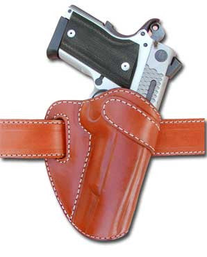 "TOM'S ""INNOVATIVE CUSTOM BELT FED HOLSTER"" DOUBLE THICK STEEL MESH REINFORCED LEATHER"