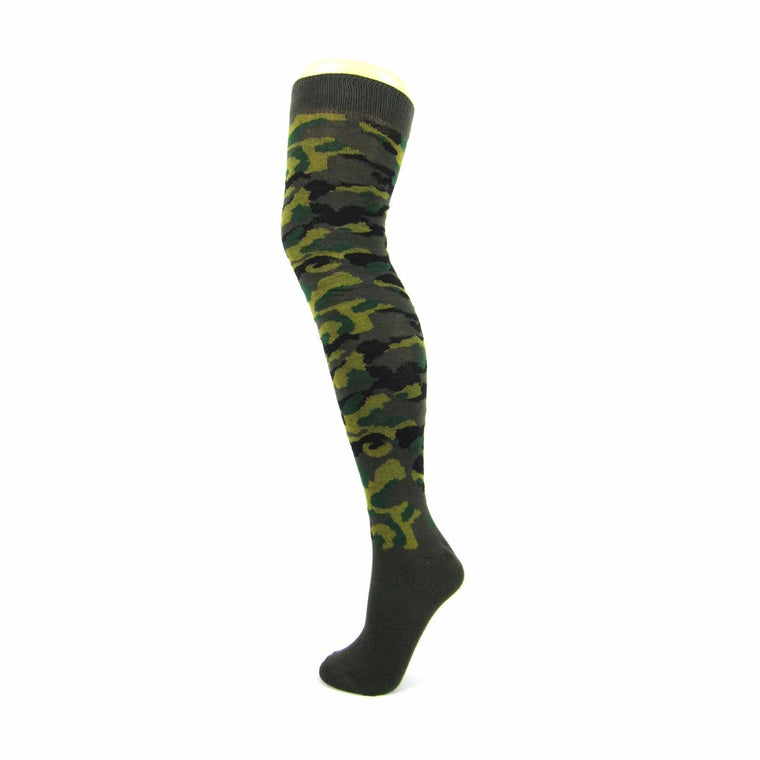 Cotton Blend Camouflage Over The Knee Socks