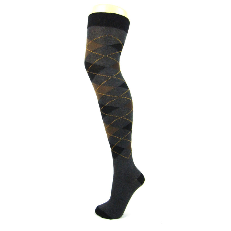 Cotton Blend Argyle Darks Over The Knee Socks