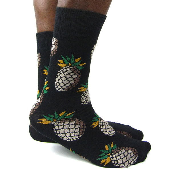 Luv Socks Men's Cotton Blend Pineapple Ankle Socks