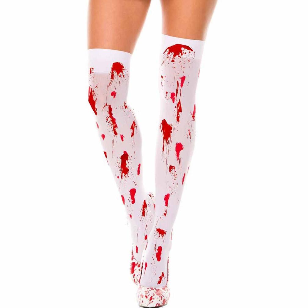 Elegant Moments Nylon Blood Stained Thigh Highs - Leggsbeautiful