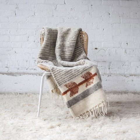 MOMO WOOL BLANKET | GREY/CURRY