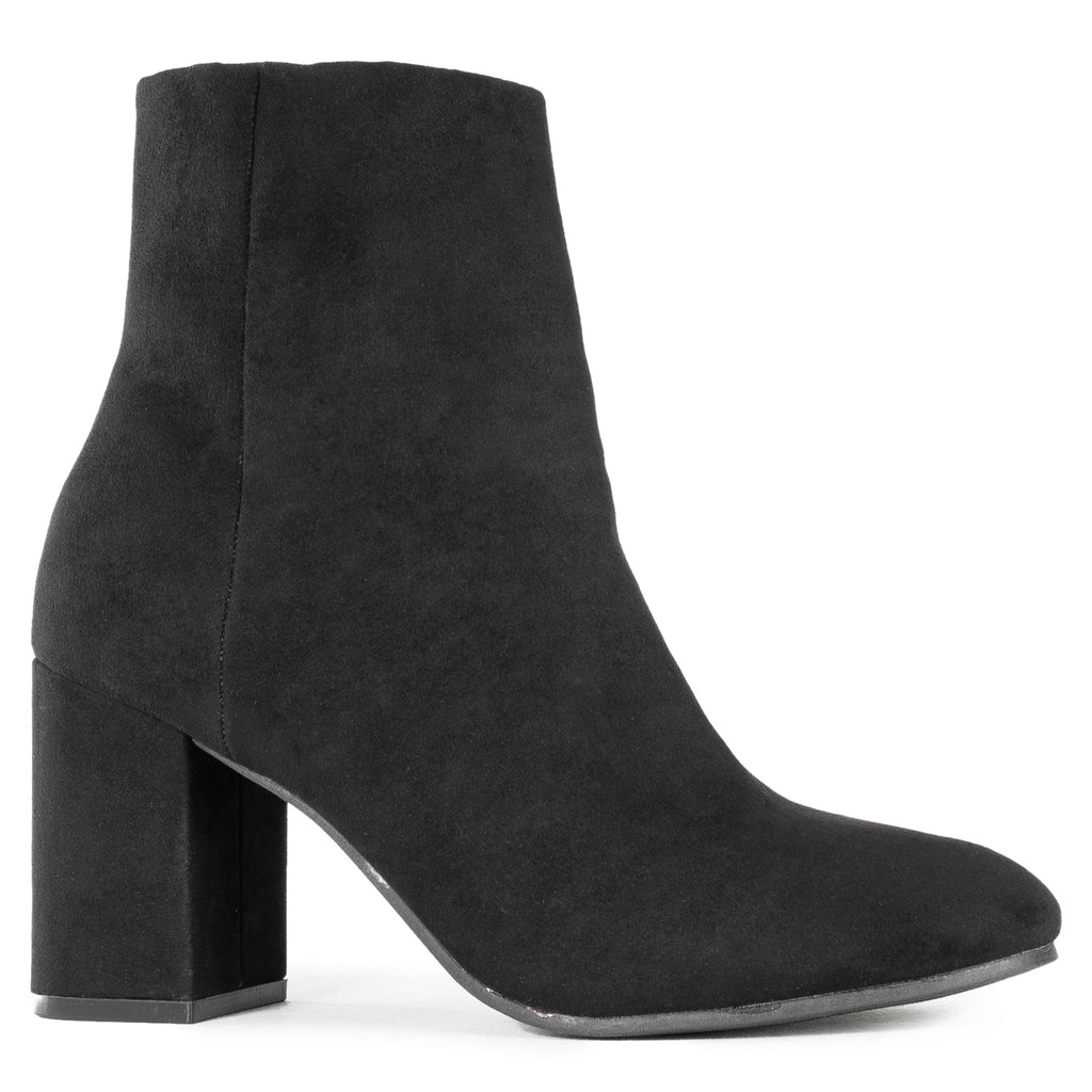 Chunky Heeled Side Zip Slim Fit Ankle Booties BLACK