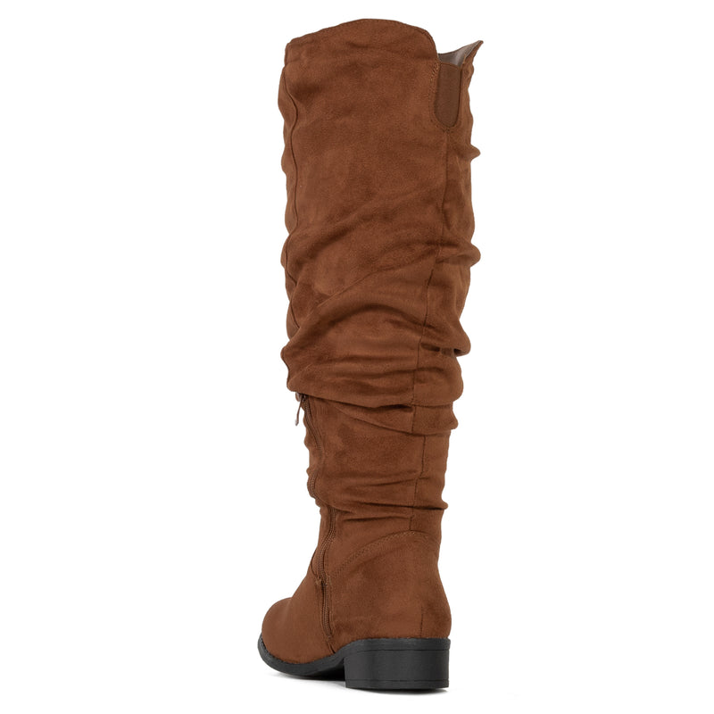 Slouchy Low Heel Knee High Boots (WIDE CALF) Walnut SU