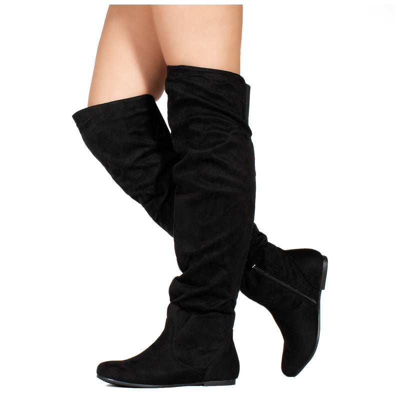 Slouchy Flat Low Heel Over The Knee Boots Black SU