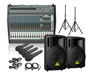 Behringer PMP6000 B215XL Powered Mixer Mains and Mics Package PA Bundle Behringer