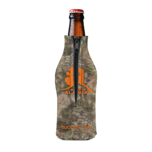 Bucks of Alaska Bottle Koozie Orange / Camo